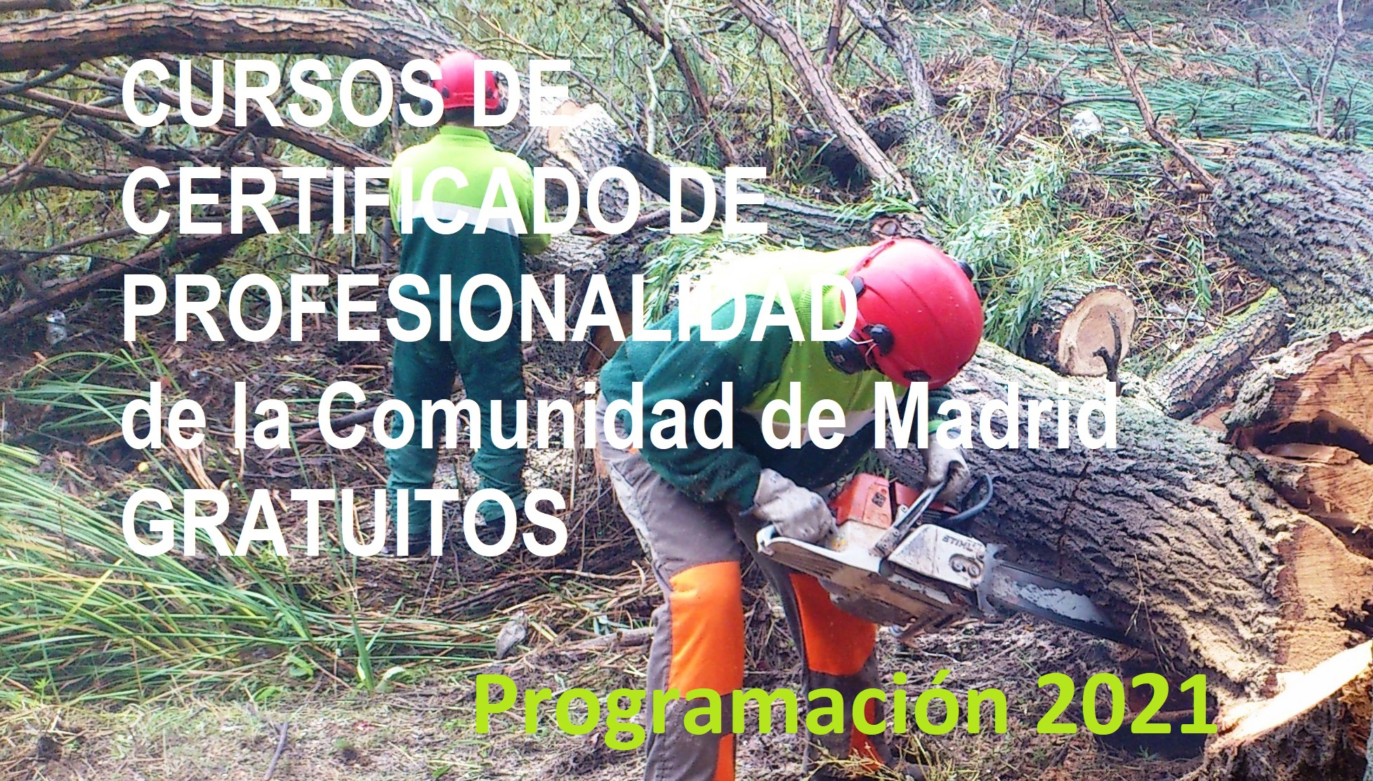 CURSOS DE CERTIFICADO DE PROFESIONALIDAD  de la Comunidad de Madrid GRATUITOS .Programación 2021