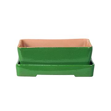 Macetas Y Jardineras - Macetas Decoracion - Maceta Bonsai Naka+plato 30x22x7cm Verde